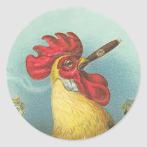 Smoking Rooster Classic Round Sticker