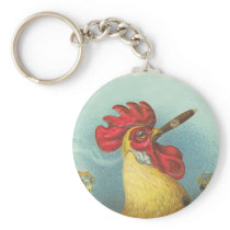 Smoking Rooster Keychain