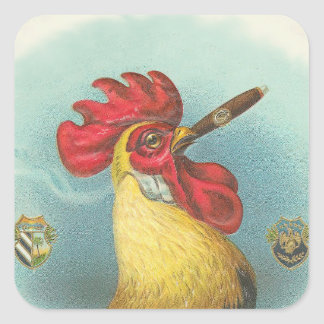 Smoking Rooster Square Sticker