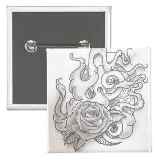 Smoking rose pinback button