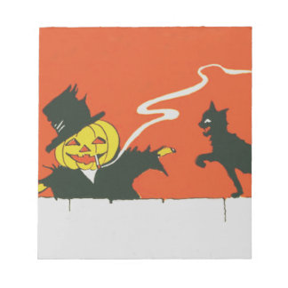Smoking Scarecrow Jack O' Lantern Black Cat Notepad