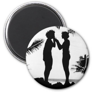 Smoking Silhouette, 1940s 2 Inch Round Magnet