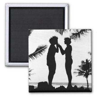 Smoking Silhouette, 1940s 2 Inch Square Magnet