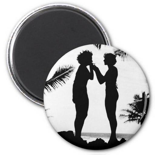 Smoking Silhouette, 1940s Refrigerator Magnets