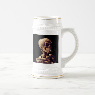 Smoking skeleton by Van Gogh Beer Stein