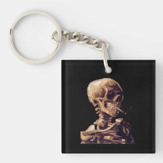 Smoking skeleton by Van Gogh Keychain