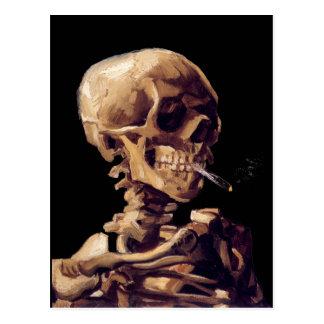 Smoking skeleton by Van Gogh Postcard