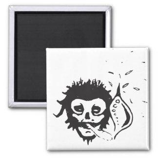 smoking skull 2 inch square magnet