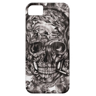 Smoking skull and headphones hand drawn artwork. iPhone 5 cases