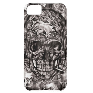 Smoking skull and headphones hand drawn artwork. cover for iPhone 5C