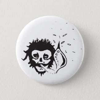 smoking skull pinback button