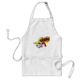 SMOKING SKULL PIRATE WITH ROSE HAT TATTOO ART PRIN ADULT APRON
