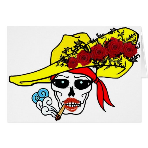 SMOKING SKULL PIRATE WITH ROSE HAT TATTOO ART PRIN GREETING CARDS
