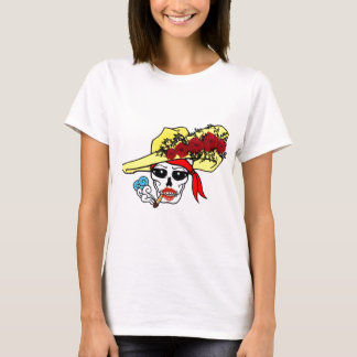 SMOKING SKULL PIRATE WITH ROSE HAT TATTOO ART PRIN T-Shirt