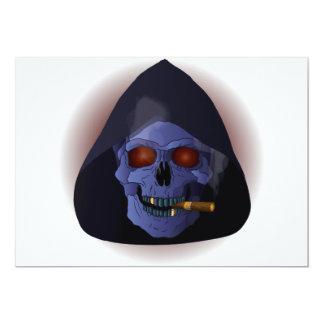 Smoking skull with cigar card