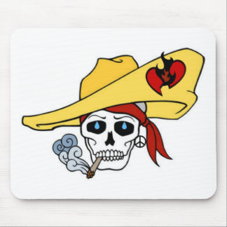 SMOKING SKULL WITH FLAMING HEART TATTOO PRINT MOUSE PAD