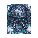 Smoking Skull with headphones canvas art. Stretched Canvas Print