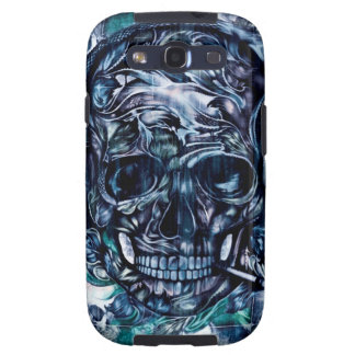 Smoking skull with headphones. galaxy SIII cover