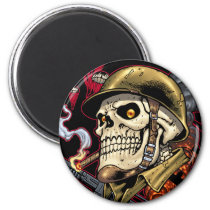 skull,, skulls,, airborne,, marine,, marines,, corps,, parachute,, skeleton,, skeletons,, al rio, Ímã com design gráfico personalizado