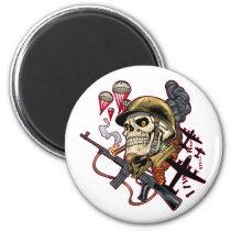 skull, skulls, airborne, marine, marines, corps, parachute, skeleton, skeletons, al rio, Ímã com design gráfico personalizado