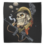 Smoking Skull with Helmet, Airplanes and Bombs Bandana