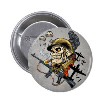 airborne, military, parachutes, skull, skeleton, gothic, war, veterans, art, illustration, al rio, Button with custom graphic design