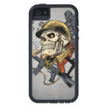 Smoking Skull with Helmet, Airplanes and Bombs iPhone 5 Cases