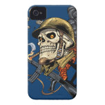 Smoking Skull with Helmet, Airplanes and Bombs Case-Mate iPhone 4 Case