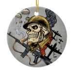 Smoking Skull with Helmet, Airplanes and Bombs Ceramic Ornament