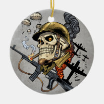 airborne, military, parachutes, skull, skeleton, gothic, war, veterans, art, illustration, al rio, Ornament with custom graphic design