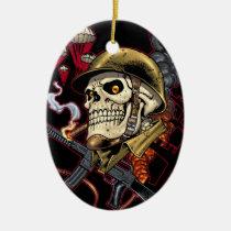 skull,, skulls,, airborne,, marine,, marines,, corps,, parachute,, skeleton,, skeletons,, al rio, Ornament with custom graphic design