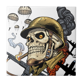 Smoking Skull with Helmet, Airplanes and Bombs Ceramic Tile