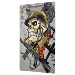 Smoking Skull with Helmet, Airplanes and Bombs Clipboard