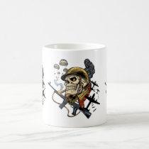 airborne, military, parachutes, skull, skeleton, gothic, war, veterans, art, illustration, al rio, Mug with custom graphic design