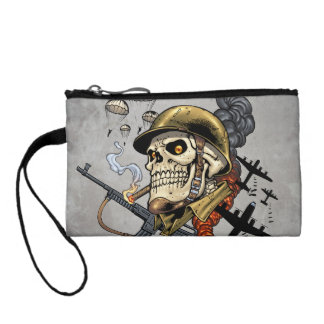 Smoking Skull with Helmet, Airplanes and Bombs Coin Wallet
