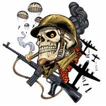 airborne, military, parachutes, skull, skeleton, gothic, war, veterans, art, illustration, al rio, Photo Sculpture with custom graphic design