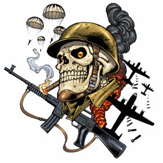Smoking Skull with Helmet, Airplanes and Bombs Cutout