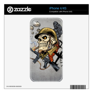 Smoking Skull with Helmet, Airplanes and Bombs Decal For The iPhone 4