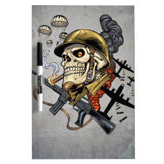 Smoking Skull with Helmet, Airplanes and Bombs Dry Erase Board