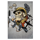 Smoking Skull with Helmet, Airplanes and Bombs Dry Erase Whiteboards