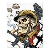 airborne, military, parachutes, skull, skeleton, gothic, war, veterans, art, illustration, al rio, Flyer with custom graphic design