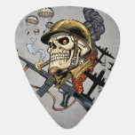 Smoking Skull with Helmet, Airplanes and Bombs Guitar Pick