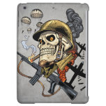 Smoking Skull with Helmet, Airplanes and Bombs iPad Air Cover
