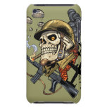 Smoking Skull with Helmet, Airplanes and Bombs iPod Touch Case