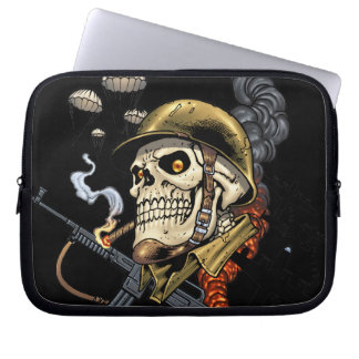 Smoking Skull with Helmet, Airplanes and Bombs Laptop Sleeves