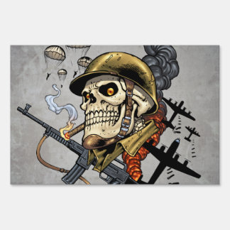 Smoking Skull with Helmet, Airplanes and Bombs Lawn Sign