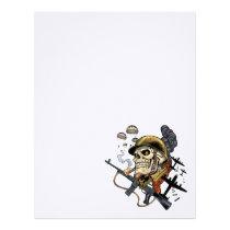 airborne, military, parachutes, skull, skeleton, gothic, war, veterans, art, illustration, al rio, Papel de cartas com design gráfico personalizado