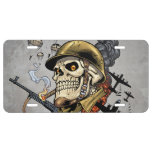 Smoking Skull with Helmet, Airplanes and Bombs License Plate