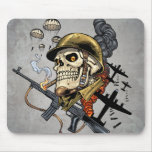 Smoking Skull with Helmet, Airplanes and Bombs Mouse Pad
