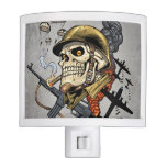 Smoking Skull with Helmet, Airplanes and Bombs Night Light